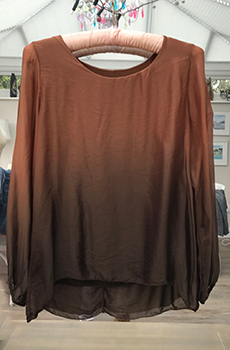 Glam chiffon top with dyed bronze-brown