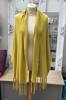 fringe shawl with sleeve mustard