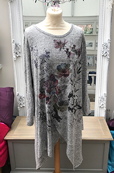 jersey floral split hem dress grey