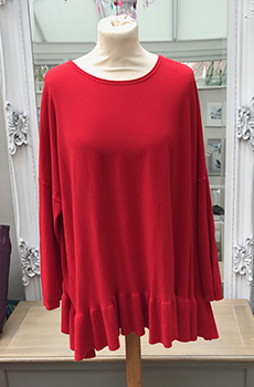 tunic with frill hem red